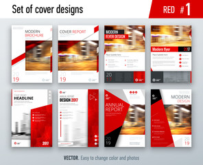 Set of business cover design template in red color for brochure, report, catalog, magazine or booklet. Creative vector background concept