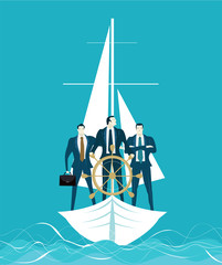 Wall Mural - Businessmen on the boat holding the steering wheel and his team at the back. Winning and leading concept