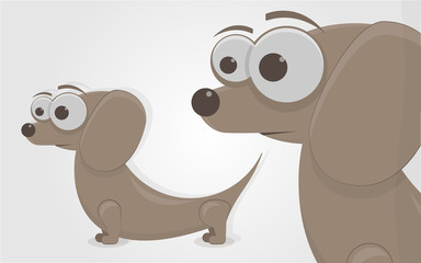 The funny little dog. Cartoon character. Isolated on white background.