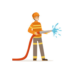 Fireman character holding hose extinguishing fire with water, firefighter at work vector illustration