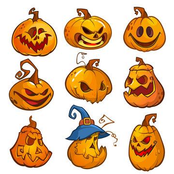 Big set of halloween pumpkins with Jack O`Lantern face, vector illustration