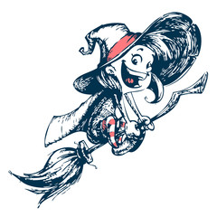 Halloween cute witch flying on her broom outlines. Vector illustration. Hand drawn strokes outlined