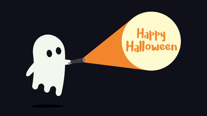Cute ghost character just found the Happy Halloween message with his flashlight. Vector illustration
