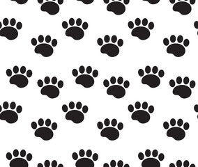 Animal tracks seamless pattern. Dog paws traces  repeating texture, endless background. Vector illustration