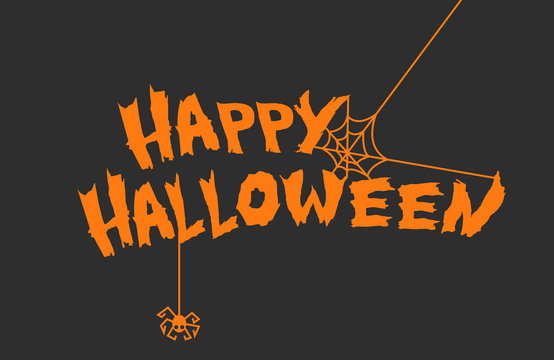 Happy Halloween Background with lettering and spooky elements. Vector Illustration in eps10