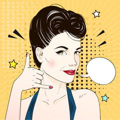 Pop art surprised woman face requests to call. Comic woman with speech bubble. Vector illustration.