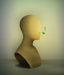 keep quiet no words concept, realistic vintage mannequin with plant pierce from the inside,