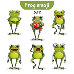 Vector set of cute frog characters. Set 2
