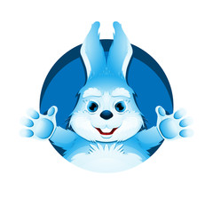 Avatar of cute blue bunny. Portrait of funny rabbit for user profile picture. Vector illustration.