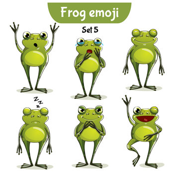 Vector set of cute frog characters. Set 5