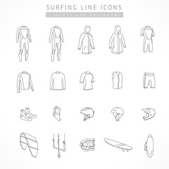 Vector set of kite surfing and active sport line icons. Icons of clothing and equipment for surfing - indoor suit, vest, kiteboard, neoprene shoes, shorts, gloves, helmets, trapeze, bags board, strap
