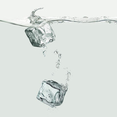 Water wave with ice kubes and air bubbles