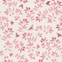 Seamless vintage pattern with hand painted pink leaves, birds. Watercolor girly or feminine design