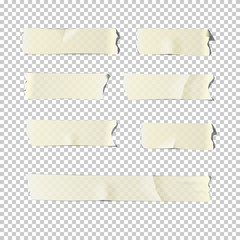 Adhesive tape set isolated on transparent background. Vector realistic design element.