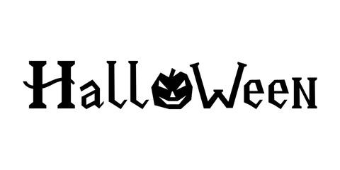 word halloween with pumpkin on white background