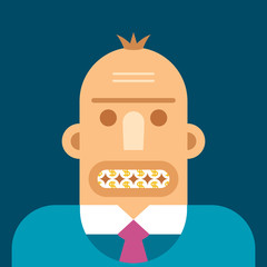 Businessman head with coin like teeth vector concept flat style