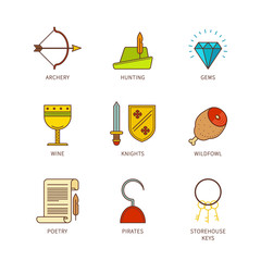 Vector minimal lineart flat medieval icons set