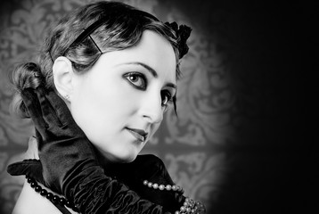 retro, style of the 20s, female black and white portrait
