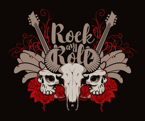 Vector illustration with skulls of a horned animal and human, electric guitar, feathers, red roses, drips of blood and inscription rock and roll