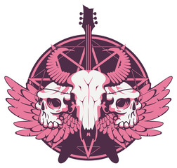 Vector illustration with skulls of a horned animal and human, electric guitar and wings on the background of the Satan star