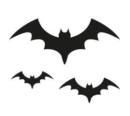 Bat black silhouette icon. Isolated on white background. Halloween concept. Scary flittermouse. Vector illustration