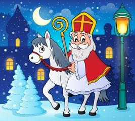 Poster Voor kinderen Sinterklaas on horse theme image 3