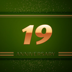 Realistic Nineteen Years Anniversary Celebration Logotype. Golden numbers and golden confetti on green background. Colorful Vector template elements for your birthday party