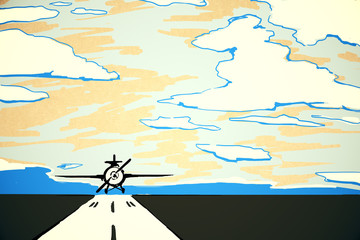 Airplane on runway doodle