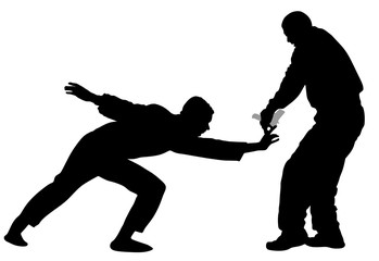 Self defense battle vector silhouette illustration. Man fighting against aggressor with gun or pistol. Krav maga demonstration in real situation. Combat for life against terrorist. Army skill action.