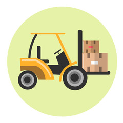 Forklift with parcel icon.