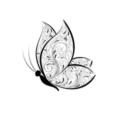 Isolated beautiful butterfly with floral pattern on a white background. Element for design. Vector illustration.
