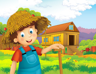 cartoon scene with happy boy working on the farm - standing and smiling / illustration for children