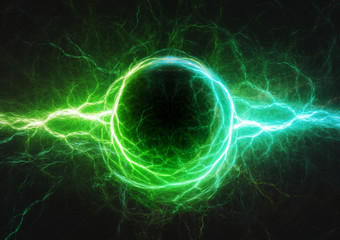 Blue and green lightning, plasma and electric power