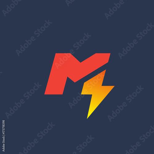 letter m lightning logo icon design template elements fotolia com の