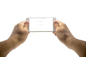 Taking horizontal photo with mobile smart phone isolated on white background with clipping path for the screen
