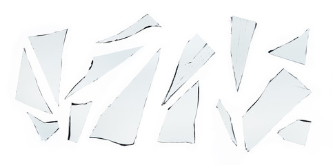 Piece and group of broken glass on white background , texture decoration backdrop object design