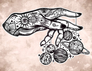 Human hand, marionette puppet planets illustration