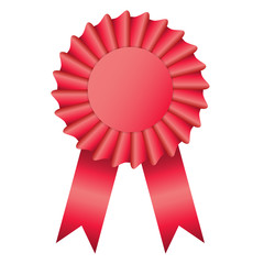 Blank red color rosette award ribbon on white background