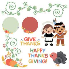 Thanksgiving Autumn Swirl Design Elements