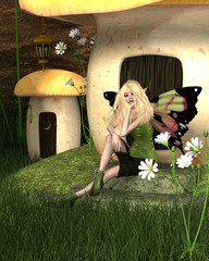 Blonde Fairy and Toadstool House - fantasy illustration