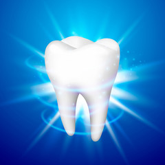 Tooth on a blue background, template design element, Vector illustration