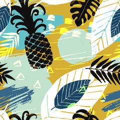 Seamless pattern with abstract watercolor stains, tropical leaves, pineapples, paint brushes freehand strokes