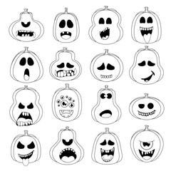 Emoji pumpkin set for Halloween.