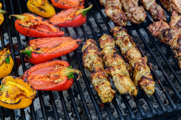Paprika and meat on a grill