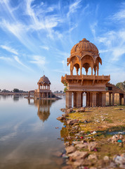 Old architecture at Gadisar Lake in Jaisalmer. India, Rajasthan
