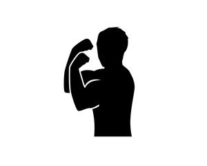 stronge man with profile side show muscles, silhouette design, isolated on white background.