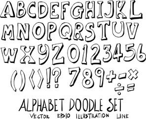 Set of font doodle illustration Hand drawn Sketch line vector eps10