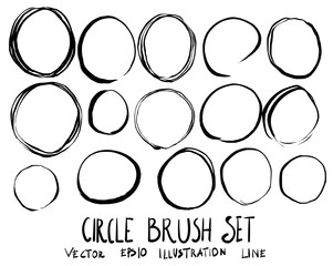 Set of circle brush doodle illustration Hand drawn Sketch line vector eps10