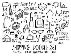 Set of Shopping doodle illustration Hand drawn Sketch line vector eps10