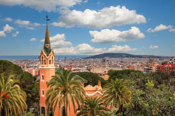 Foto op Plexiglas Barcelona Barcelona, Spain - April 19, 2016: Famous Park Guell in Barcelona, Spain. The Gaudi House Museum.